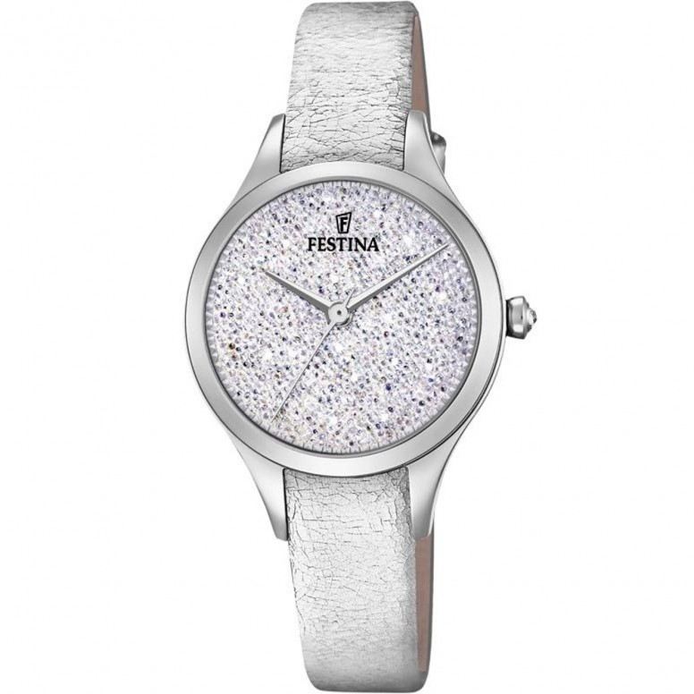 Festina Mademoiselle Swarovski Ladies Watch Silver Leather F20409 1 Notonlywatches It