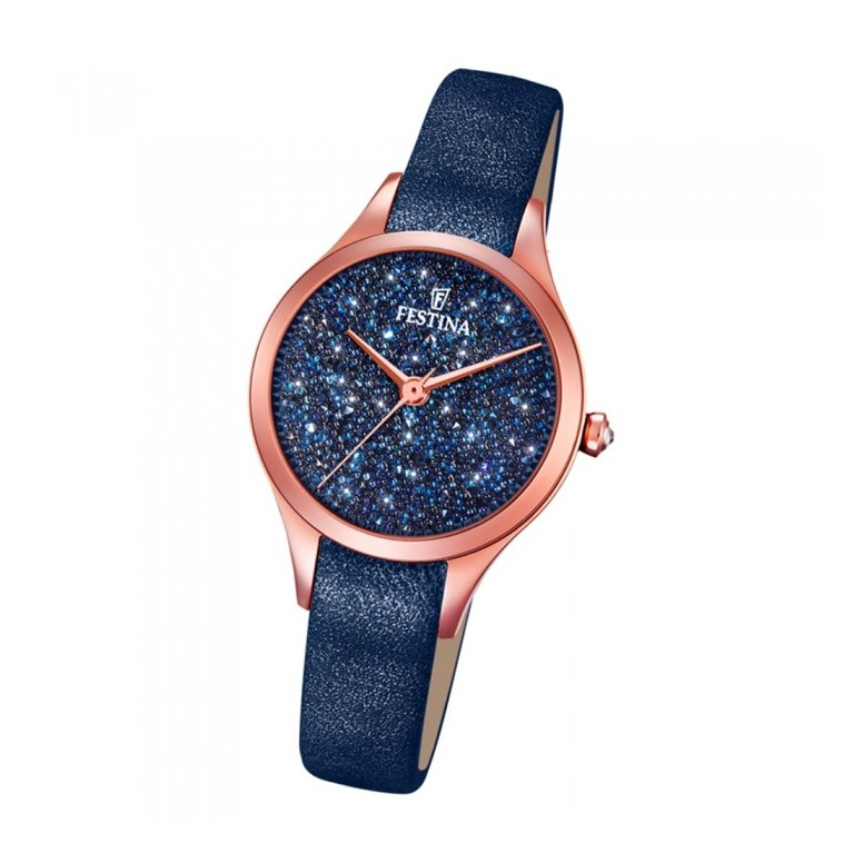 Festina Mademoiselle Swarovski Ladies Watch Leather Blue Rose Gold F20411 3 Notonlywatches It